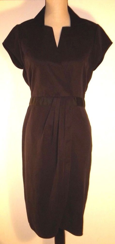 Elie Tahari Women's Size 10 Dress Solid Black Tencel Short Sleeve Belt Collar #ElieTahari #SheathDress #PartyCocktail