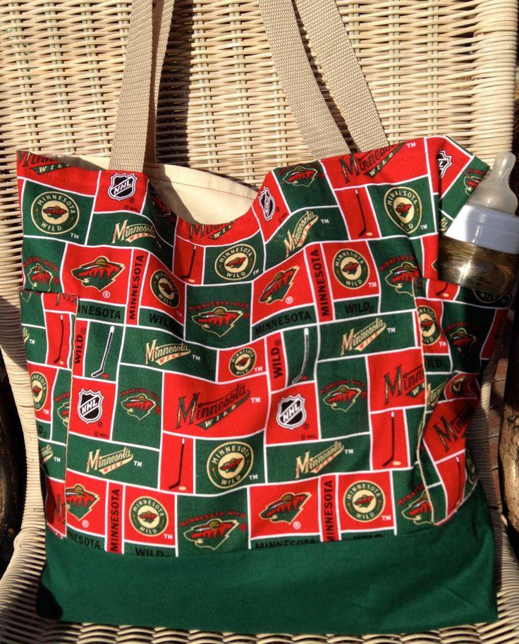 Minnesota Wild Ice Hockey Diaper Bag Custom Tote Bag Purse, Hockey Shopping Bag, lined, web straps, NHL, ice-hockey games, sports by designsbyfancyrose on Etsy