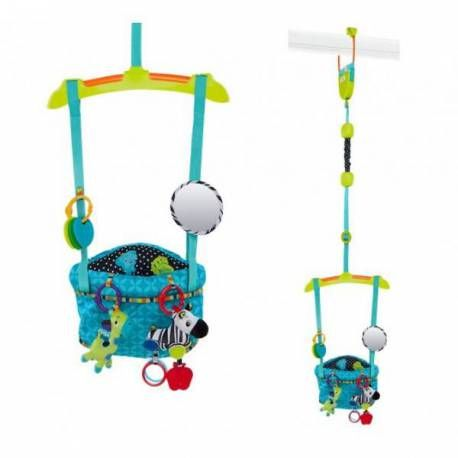 Saltador de Puerta Selva de Bright Starts homologado hasta los 11 kg. https://carlitosbaby.com/saltadores-para-bebes-y-ninos/4748-saltador-puerta-selva-bright-starts.html