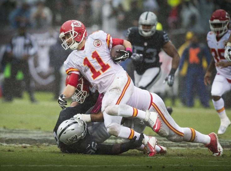 Chiefs vs. Raiders:    October 16, 2016   -  26-10, Chiefs  -      Oakland Raiders defensive end Denico Autry, bottom, sacks Kansas City Chiefs quarterback Alex Smith (11) in their game at the Oakland-Alameda County Coliseum on Sunday, Oct. 16, 2016.