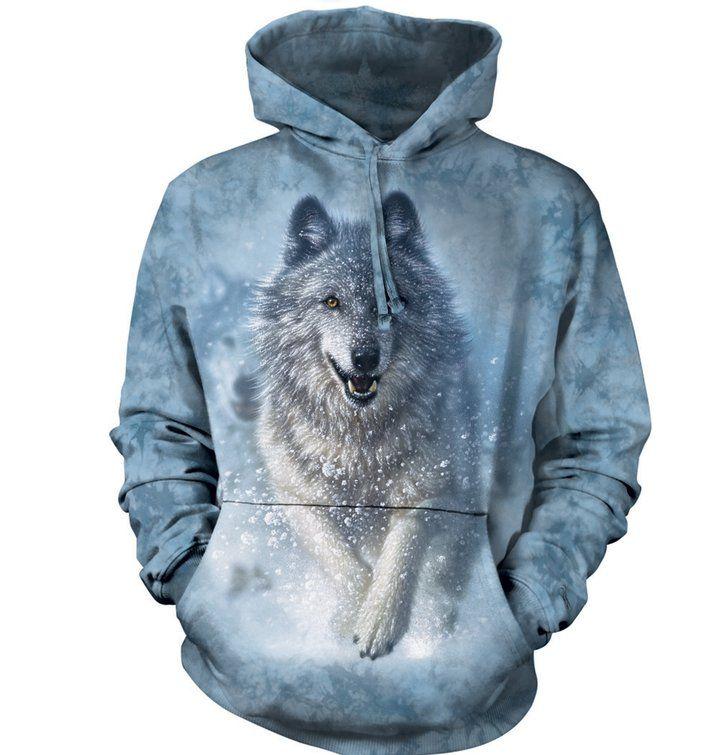 Mikina s kapucí Bílý vlk