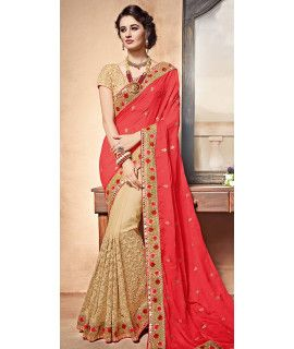 Vivously Red And Beige Chiffon Designer Saree.