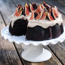 Whole Wheat Chocolate Bundt Cake with Cashew Cream and Figs