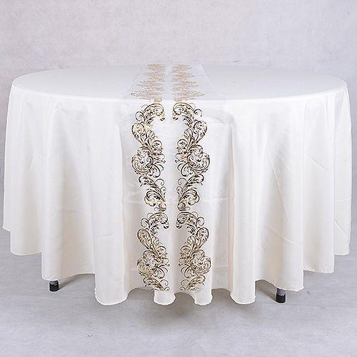 14 Inch X 108 Inches White Gold Organza Table Runner Metallic Design    BBCrafts