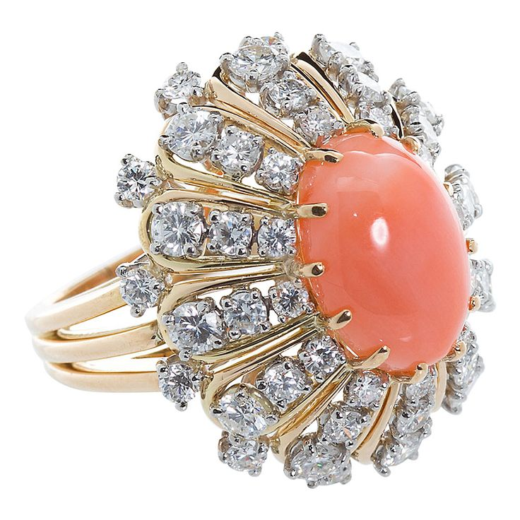 Oscar Heyman Coral Diamond Cocktail Ring | From a unique collection of vintage cluster rings at https://www.1stdibs.com/jewelry/rings/cluster-rings/