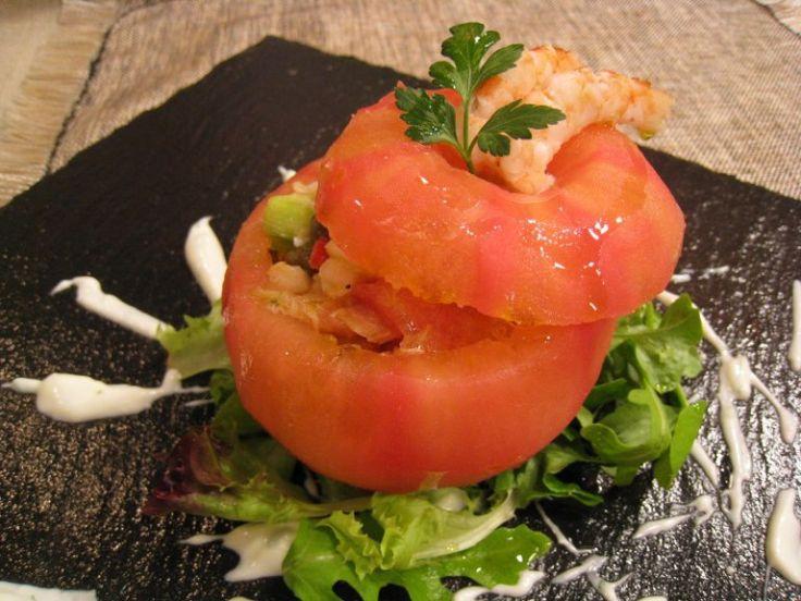 Piriñaca de gambas y tomates