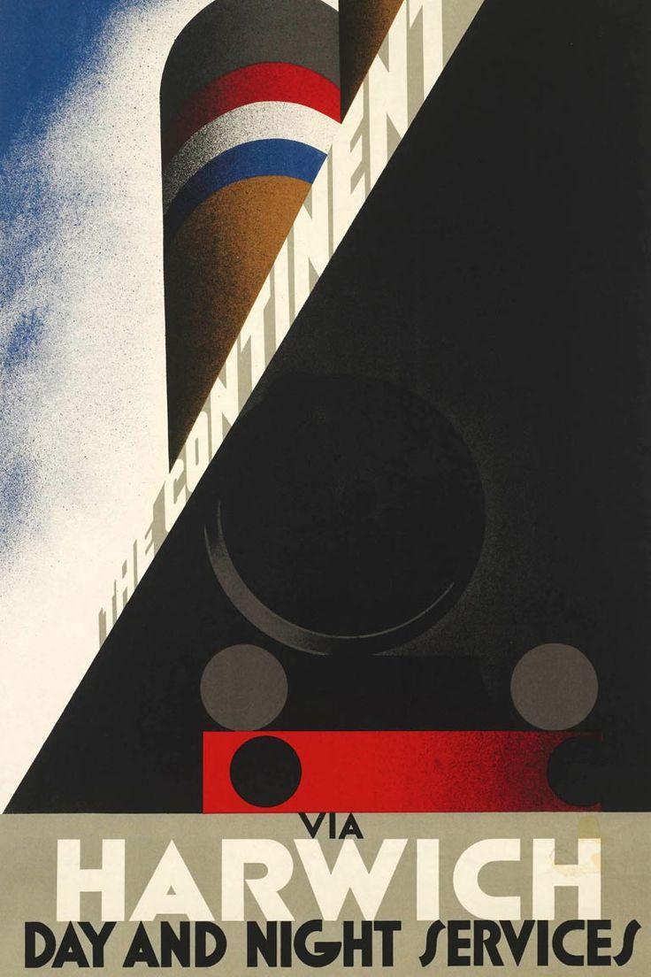 Poster design 1920s - Affiche The Continent Via Harwich 1927 A M Cassandre Spoorwegmuseum