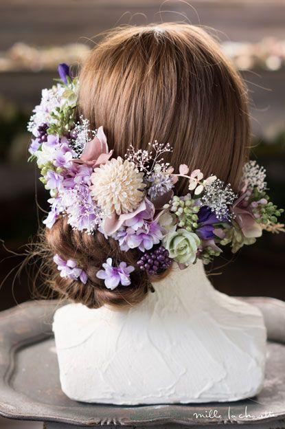 パープルライラックとカスミソウのヘッドドレス | Online store – ミルラシュエット head dress