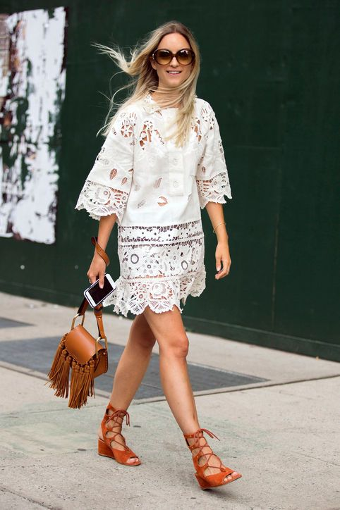 Click to find out which spring fashion trends you're about to see everywhere. These are the looks and outfits that are currently the most popular on Pinterest, including these lace-up block heels (though we're also LOVING the white lace dress).