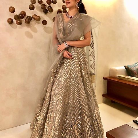 Sagarika (@sagarikaghatge) | Instagram photos and videos Grey lehenga