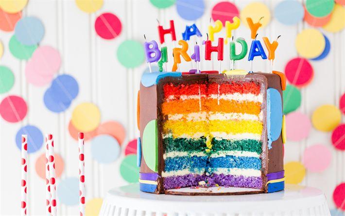 Télécharger fonds d'écran Joyeux Anniversaire, fête, gâteau, gâteaux colorés, des bougies, des bonbons