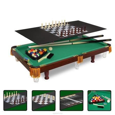 """Стол бильярдный """"Fortuna"""", для американского пула, 4 в 1, 84 см х 42 см  — 7190 руб.  —  Бильярдный стол """"Fortuna"""" - это многофункциональный игровой стол, включающий 4 игры: американский бильярд, шашки, шахматы и нарды. Основой служит бильярдный стол размером 3 фута для игры в американский пул с плитой из ЛДСП толщиной 9 мм, покрытой сукном традиционного для бильярда цвета English Green (английский зеленый). Для использования стола в качестве основы для других видов игр используется…"""