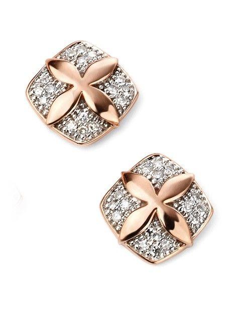9ct Elements Rose Gold Diamond Flower Stud Earrings
