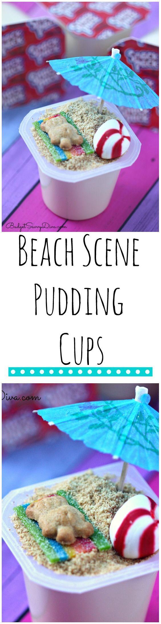 Beach Scene Pudding Cups Recipe | Pudding Snacks @fatheaddecals