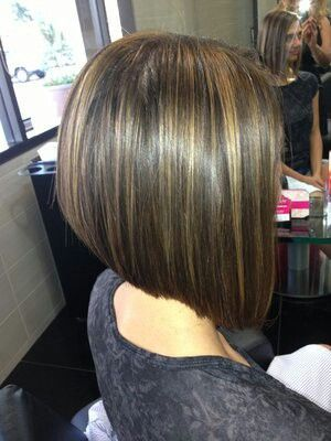 A line bob- shoulder-length/to my collar bone in front and short, only hitting mid-neck in the back