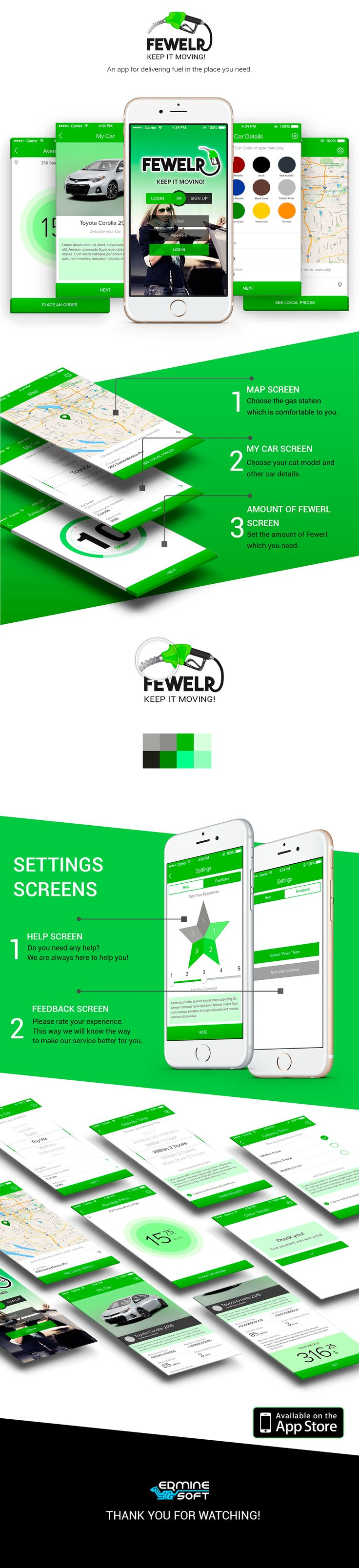 FEWELR App.This is an IOS platform app that provides fuel delivery service. Your car is out of fuel and there is no gas station nearby to fill it? The Fewelr will help you. You can choose the place and time of delivery, average price and the amount you need. http://erminesoft.com/