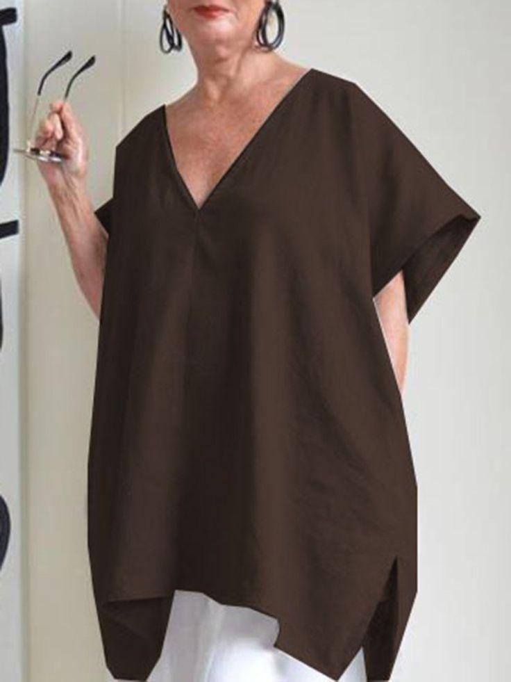 Casual Solid Color V-neck Irregular Split Plus Size Blouse