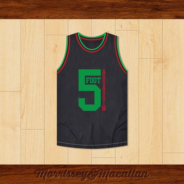 Phife Dawg 5 Foot Assassin Basketball Jersey by Morrissey&Macallan. STITCH SEWN GRAPHICS  CUSTOM BACK NAME CUSTOM BACK NUMBER ALL SIZES AVAILABLE SHIPPING TIME 3-5 WEEKS WITH ONLINE TRACKING NUMBER Be sure to compare your measurements with a jersey that already fits you. Please consider ordering a larger size, if you plan to wear protective sports equipment under the jersey. HOW TO CALCULATE CHEST SIZE: Width of your Chest plus Width of your Back plus 4 to 6 inches to account for space for a…