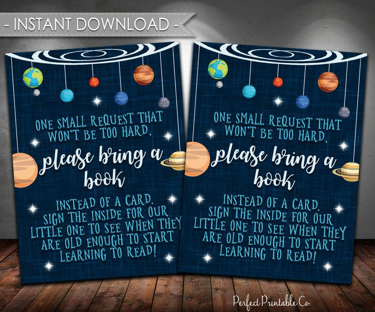 Outer Space Baby Shower Book Instead of Card Insert, Planet Baby Shower Book Instead of Card Insert, Digital Instant Download #596 by PerfectPrintableCo on Etsy