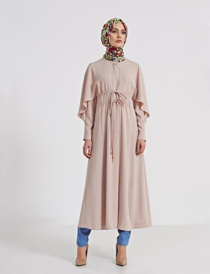 B4 25017 Kayra Pelerinli Ferace Bej Tesett R Modas Turkish Hijab Style Fashion Pinterest