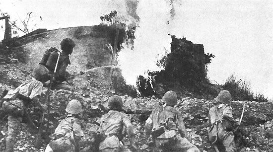 Japanese flame-thrower attack on an American blockhouse in the main defense-line on Bataan