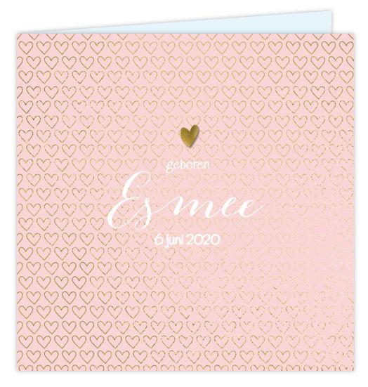 Super lief geboortekaartje voor een meisje. Met hart patroon in goud kleur met verloop erin, watercolor, spetters en in een zacht roze tint. Geheel zelf aan te passen. Gratis verzending in Nederland en België.