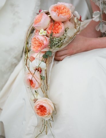 David Austin Roses  Peach Orange Teardrop Bridal Bouquet. Juliet rose.