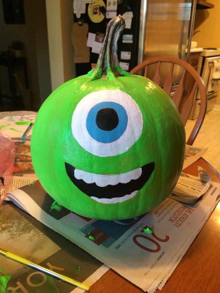 Mike from Monsters Inc pumpkin   Crafts   Pinterest