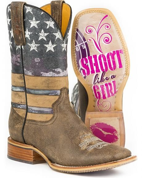 Tin Haul Women's American Woman Cowgirl Boots - Square Toe