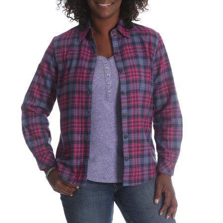 Riders by Lee Women's Fleece Lined Flannel Shirt, Size: Medium, Purple
