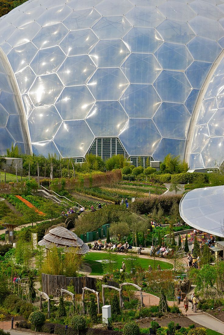 Garden of Eden - St. Austell, Cornwall, England The artificial biomes of the Eden Project would be more at home on the exotic terrain of a foreign planet than nestled in the Cornwall countryside. The biomes house plants from around world, with visitors being able to visit the Tropics and the Mediterranean without ever leaving England.