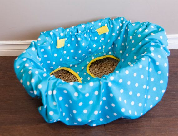 Shopping cart cover, High Chair Cover, handmade. Turquoise Polka Dot & Yellow backing. By Mommy Can Sew, on Etsy