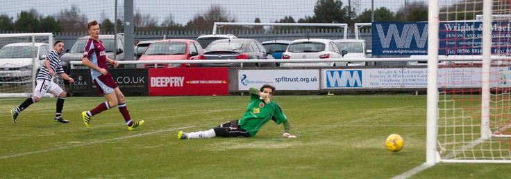 Queen's Park's Anton Brady scores during the Ladbrokes League One game between Stenhousemuir and Queen's Park.
