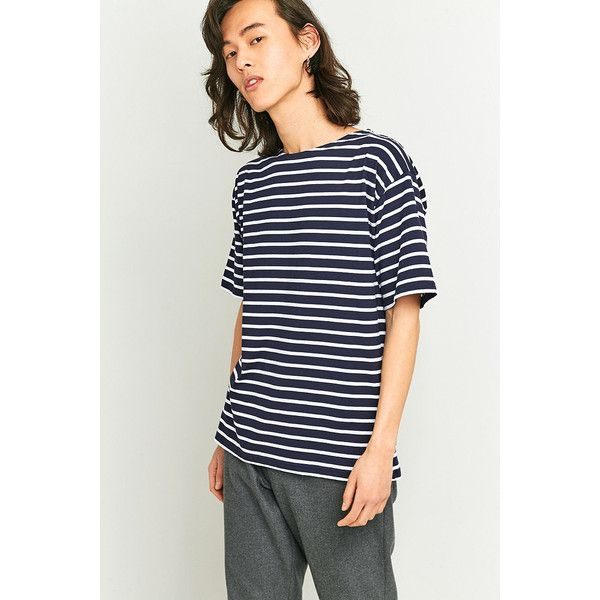 Armor Lux Classic Navy and White Striped T-shirt (59 AUD) ❤ liked on Polyvore featuring men's fashion, men's clothing, men's shirts, men's t-shirts, navy, old navy mens shirts, mens navy blue t shirt, mens navy blue shirt, old navy mens t shirts and mens stripe shirts