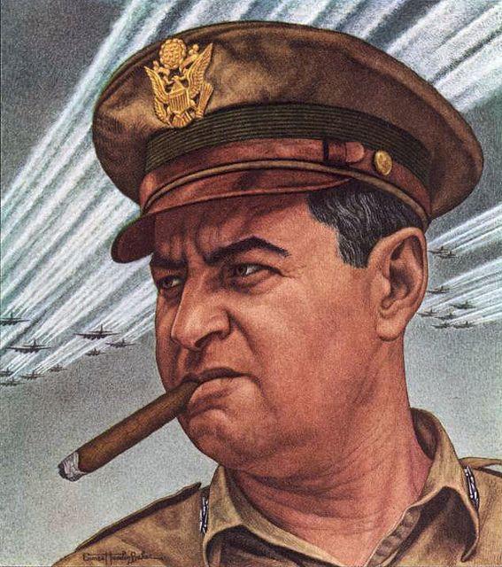 American Maj. Gen. Curtis LeMay 1945 TIME cover art by Ernest Hamlin Baker
