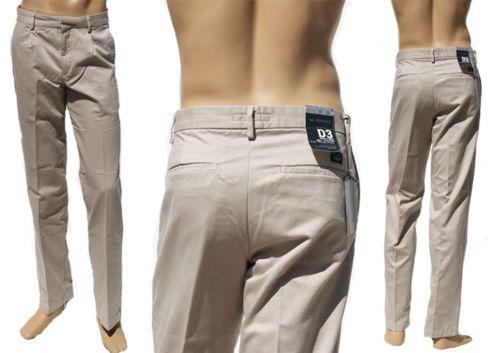 Dockers Khakis Pantaloni Uomo D3 SLIM Simples Pinces Colore Sabbia L32 W33