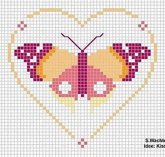 cross stitch chart Butterfly  Quick Tip: four colors, simple design. Thought color combination unique and pretty.