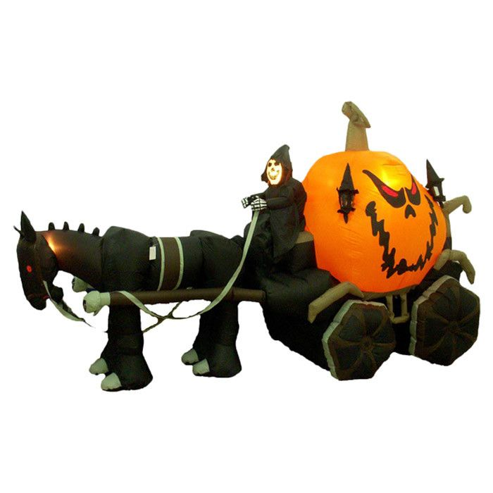 Features:  -Self inflates in moments.  -Weather resistant polyester.  -Great for indoor or outdoor use.  -Deflates and folds for easy storage.  -Internal lighting for night display.  -Bring a little m Awesome Outdoor Halloween Decorations