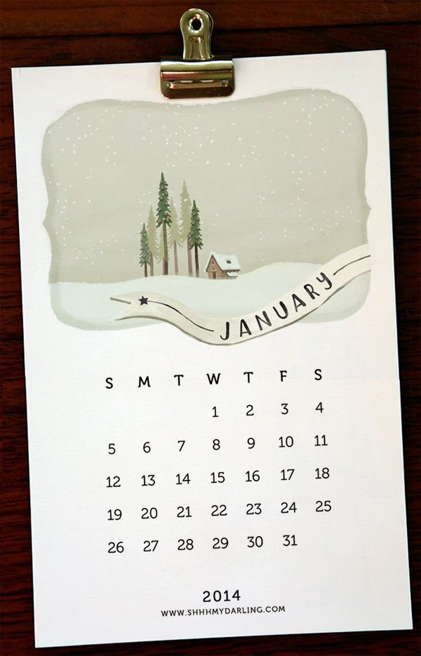 Lovely! (Just in case you still need a little calendar.) :: SHHH MY DARLING: free printable calendar 2014