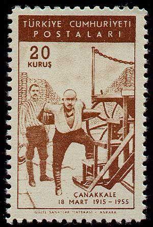 1955 Canakkale Stamp; Seyit Onbaşı 18 March 1915