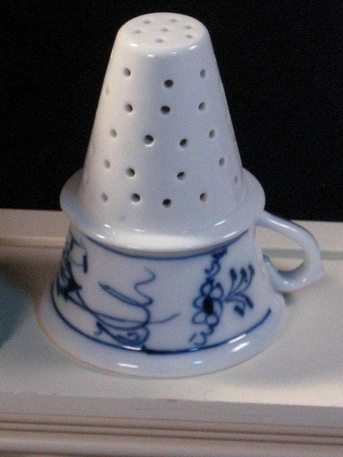 Antique Meissen Blue Onion Blue Danube Porcelain Funnel or Tea