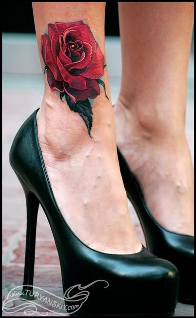 Beauty Red Rose on ankle tattoo