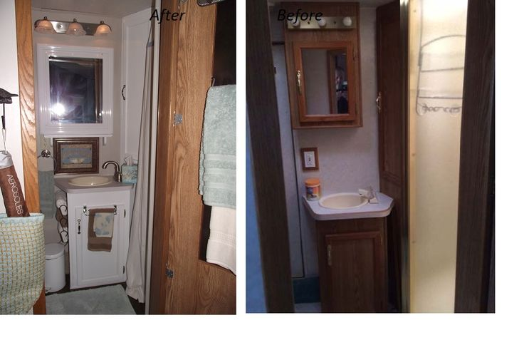 Diy rv before and after makeover bathroom remodel of 1997 - Diy bathroom remodel before and after ...