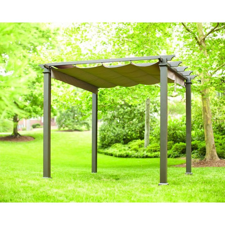 Hampton Bay 9-1/2 ft. x 9-1/2 ft. Steel Pergola with Canopy-GFM00467F - The Home Depot