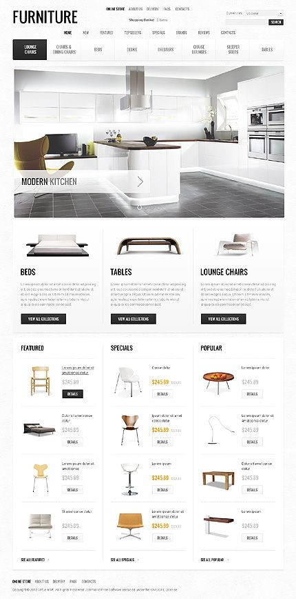 Furniture website.  Website design layout. Inspirational UX/UI design samples.  Visit us at: www.sodapopmedia.com #WebDesign #UX #UI #WebPageLayout #DigitalDesign #Web #Website #Design #Layout