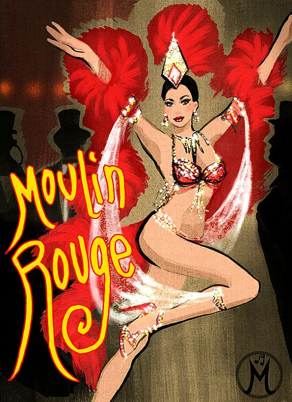 HOLIDAY SALE PRICE 20  Moulin Rouge dancer  by MelodyOwensArt, $36.00