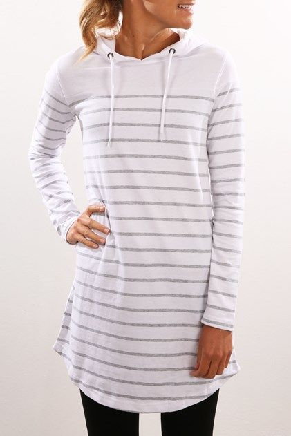 Heartbreak Hooded Dress White Stripe