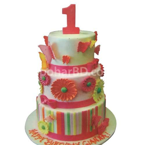 Flower Butterfly Cake Send A Gift With Multicolored