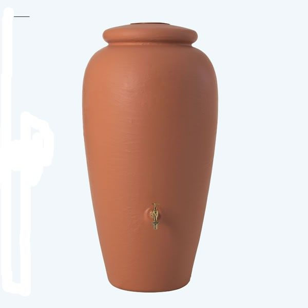 The decorative 300L Rainwater Amphora is a Mediterranean-style rainwater tank with a large capacity and small footprint.
