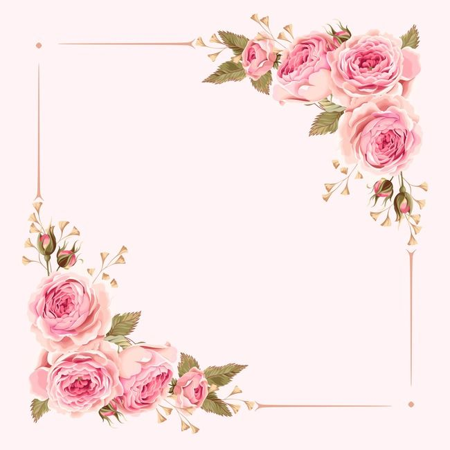 Watercolor Pink Wedding Flowers Border Background In 2020 Flower
